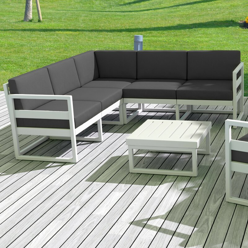 AllModern Millis 17 Piece Sectional Seating Group with Sunbrella Cushions