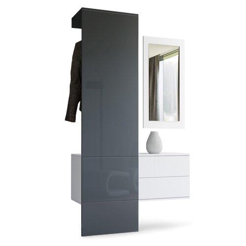 3-tlg. Garderoben-Set Carlton Set 2 | Flur & Diele > Garderoben > Garderoben-Sets | Grau (glänzend) | Holzwerkstoff | VladonMoebel