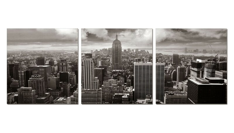 3 Panel Photo Wood Mounted The Empire State Building 3 Piece Photographic Print On Wrapped Canvas Set Wayfair