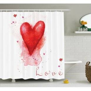 Junya Watercolor Effect Heart Shower Curtain Set