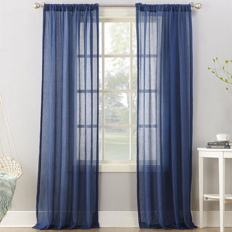 Leland Solid Semi Sheer Rod Pocket Single Curtain Panel