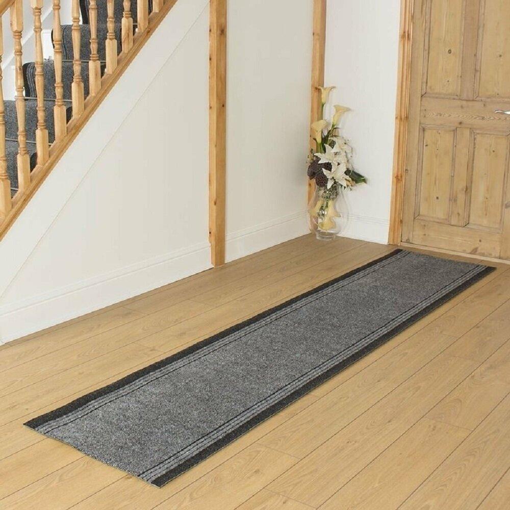 Abby Flatweave Grey Hallway Runner Rug