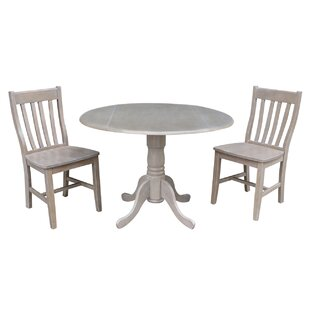 Harrel Dual Drop Leaf 3 Piece Solid Wood Dining Set August Grove