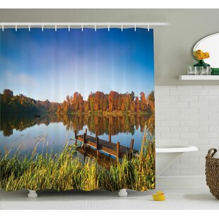 Scenery Fishing on a Lake View Single Shower Curtain