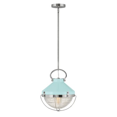 Carruthers 1 Light Single Dome Pendant Longshore Tides Size 15 25 H X 12 W X 12 D Finish Polished Nickel Shade Color Robin S Egg Blue Shefinds