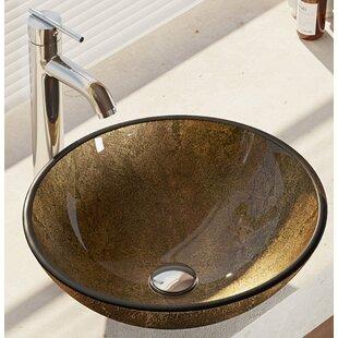 Deals Regal and Earth Tones Glass Circular Vessel Bathroom Sink with Faucet ByRené By Elkay