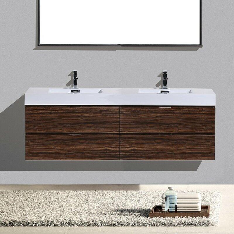 Tenafly 72 Quot Wall Mount Double Bathroom Vanity Set