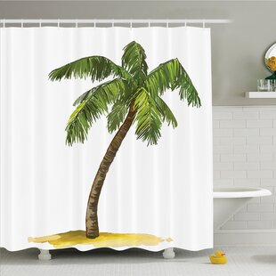 Compare prices Palm Tree Cartoon Palms Image Tropical Plant and Sand Serenity Nature Foliage Print Shower Curtain Set ByAmbesonne
