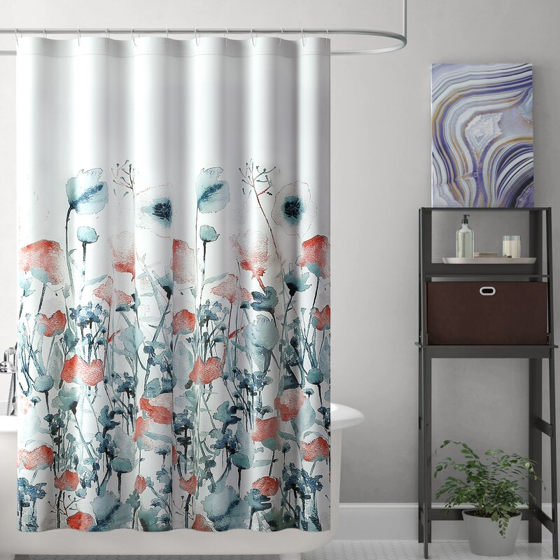 Brayden Studio Balig Floral Single Shower Curtain Reviews Wayfair