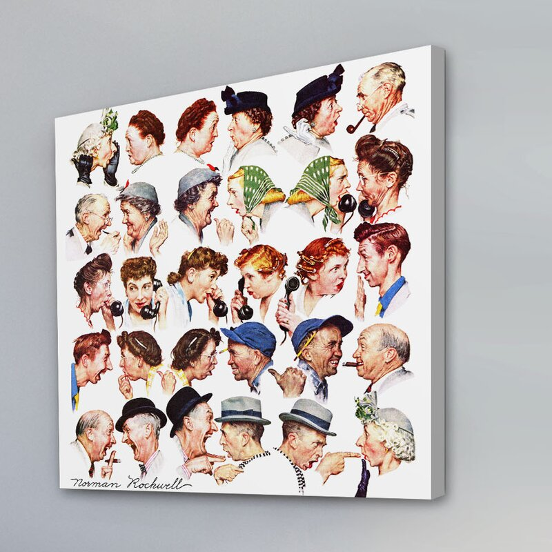 'Chain Of Gossip' by Norman Rockwell Painting Print on Wrapped Canvas