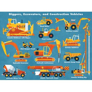 Diggers, Excavators and Construction Vehicles by Daviz Canvas Art