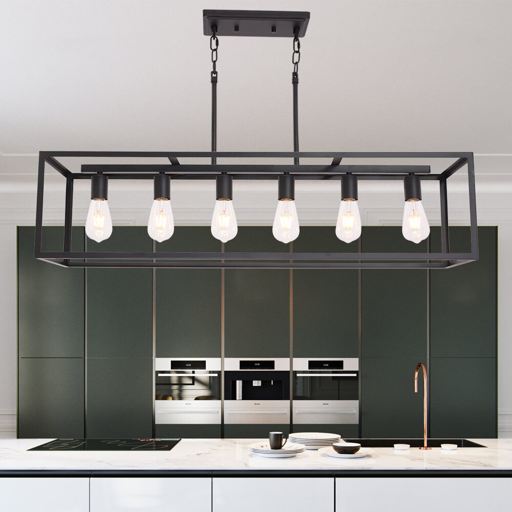 17 Stories Morelock 6 Light Kitchen Island Linear Pendant Reviews Wayfair
