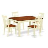 Beeson 5 - Piece Butterfly Leaf Rubberwood Solid Wood Dining Set by Darby Home Co