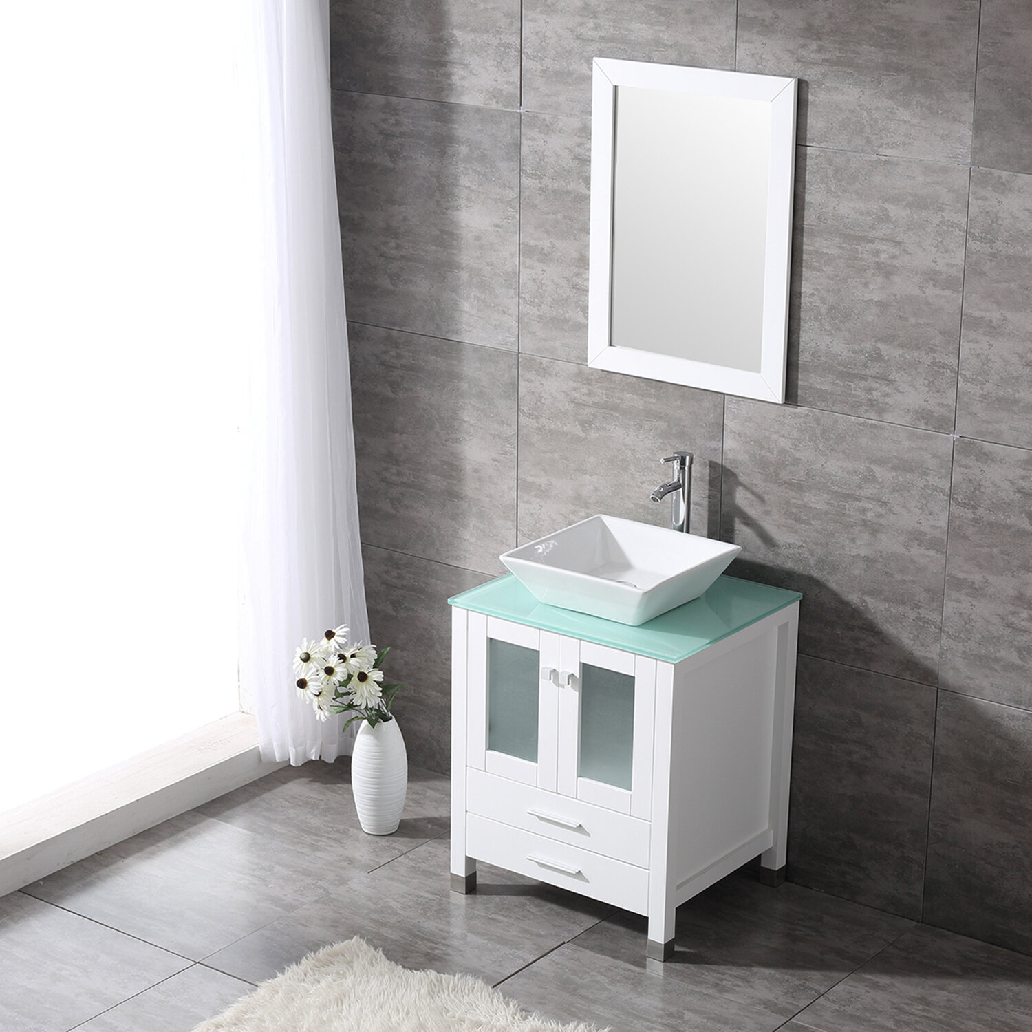 24 Inches Traditional Bathroom Vanity Set Single White Cabinet And Glass Vessel Sink 1 Large Sliding Drawers And 2 Door Pop Up Drain Faucet Bathroom Vanities