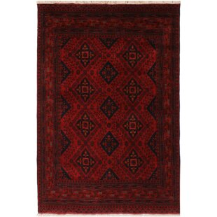 Compare prices One-of-a-Kind Cremeans Hand-Knotted 5'2 x 6'6 Wool Red/Black Area Rug By Isabelline