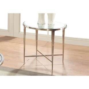 Keila Glass Top Metal Tapered Legs Round End Table by Everly Quinn
