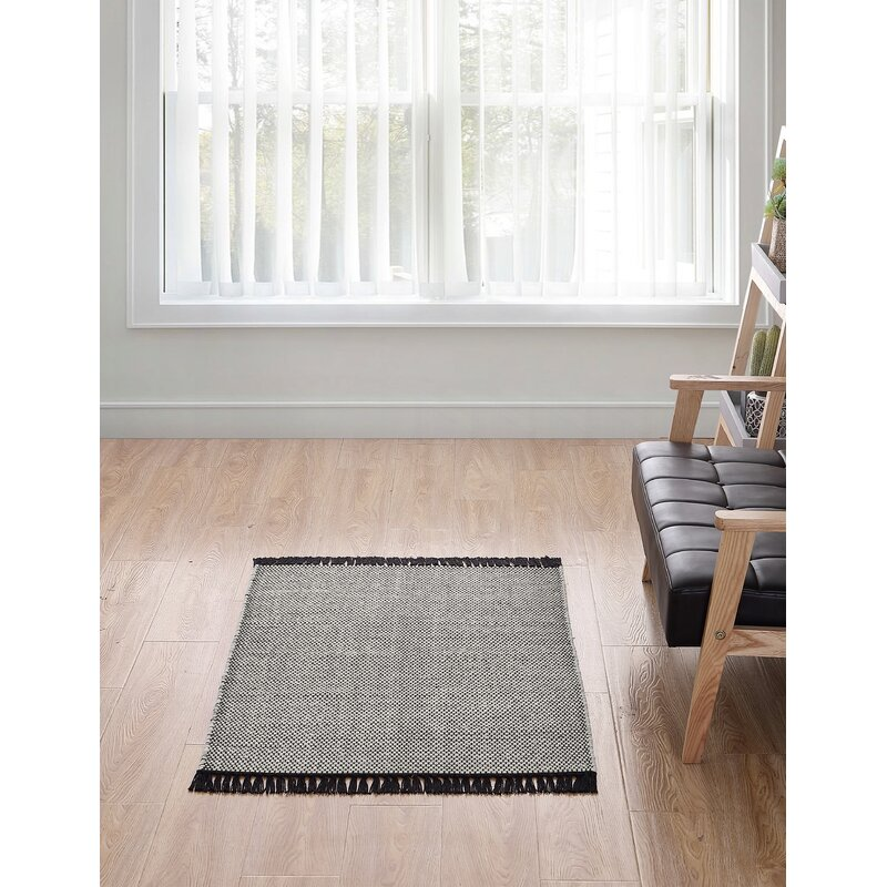 Breakwater Bay Feeley Solid Scatter Charcoal Area Rug, Size: Rectangle 30 x 46