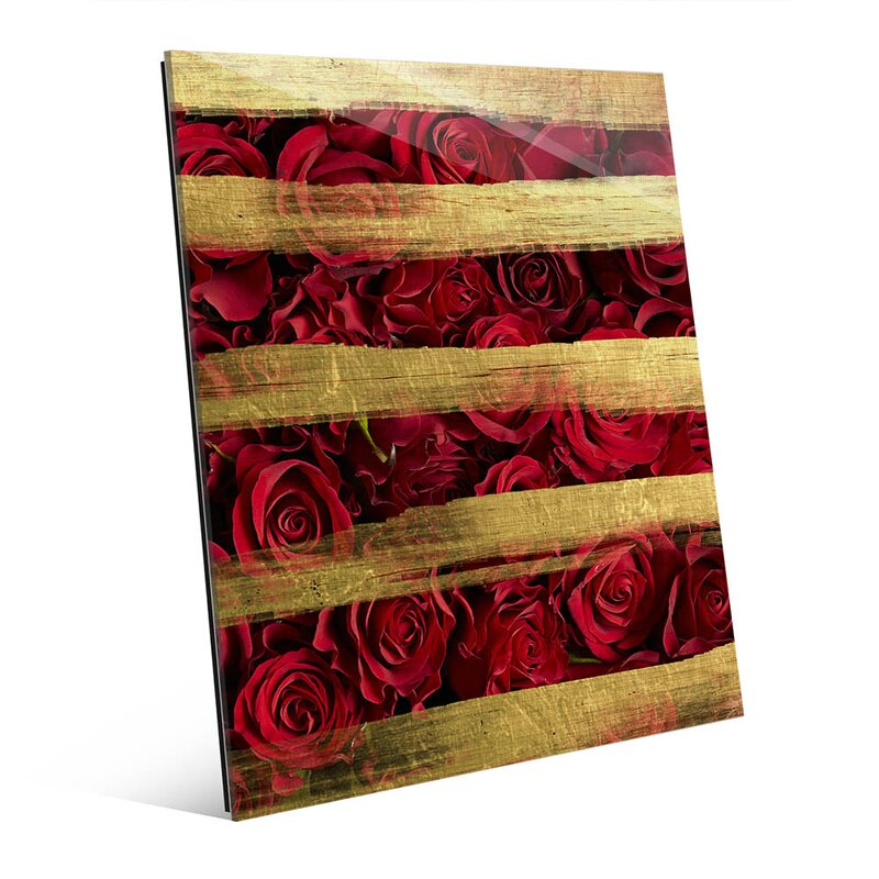 Glass Red Roses and Stripes Graphic Art on Plaque