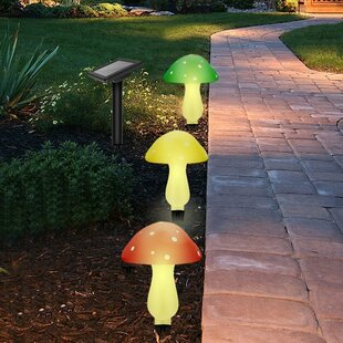 Outdoor Garden Solar Powered Mushroom 3-Light LED Pathway Light
