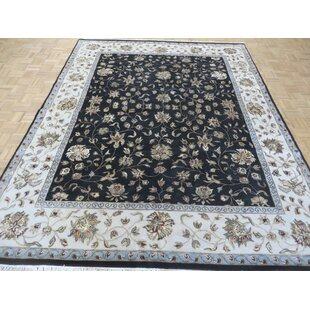 Best Reviews One-of-a-Kind Beane Hand-Knotted Wool Black Area Rug By Isabelline