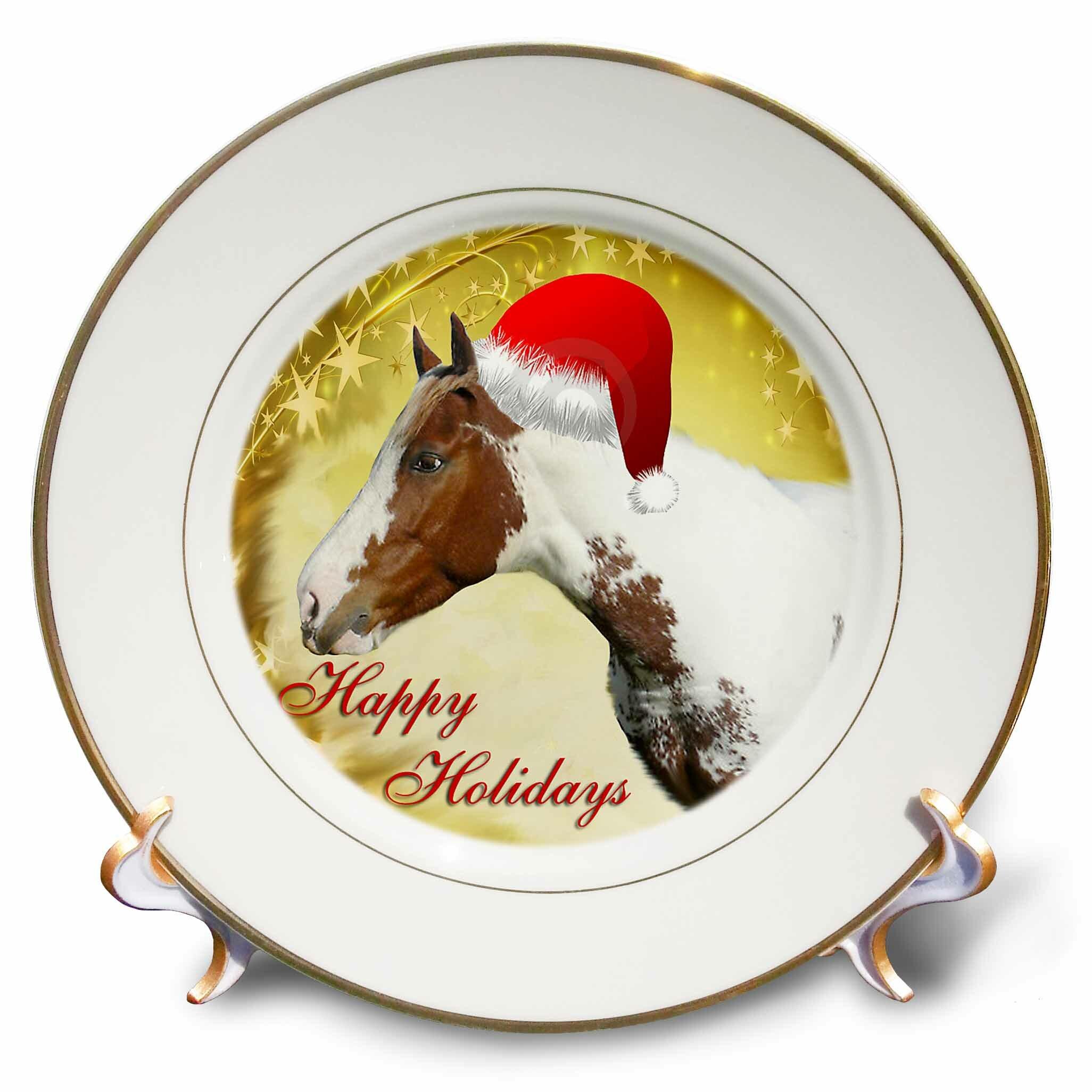 East Urban Home Christmas Horse Porcelain Decorative Plate Wayfair