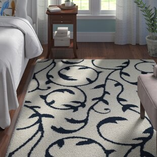 Low priced Murdock Soft Floral Shag Blue/White Area Rug By Andover Mills