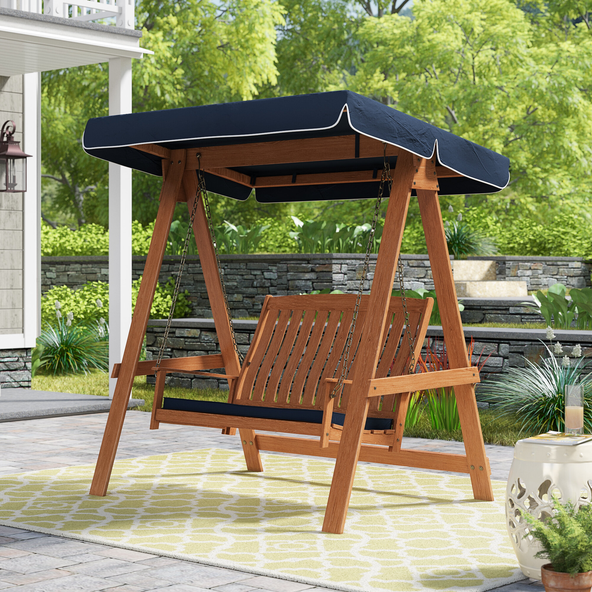 Darby Home Co Peggy Porch Swing With Stand Reviews Wayfair