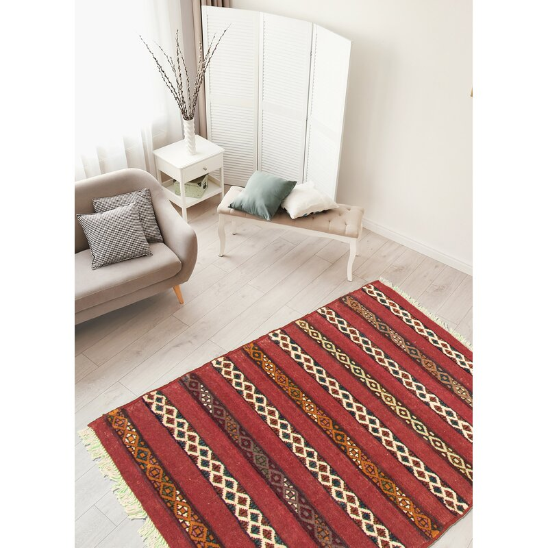Foundry Select Yonker Hand Knotted Wool Dark Red Beige Rug Wayfair