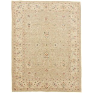 Catron Hand Knotted Wool Beige Rug by Rosalind Wheeler
