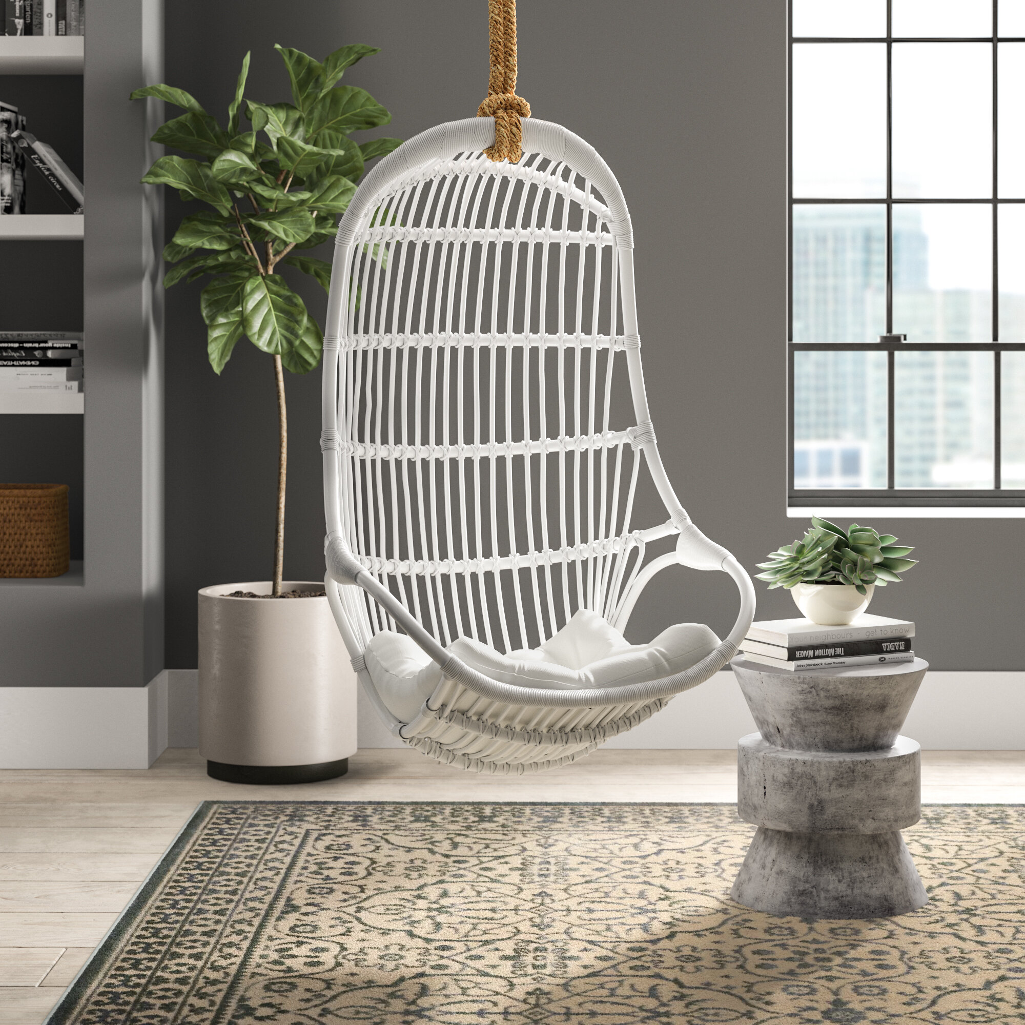 Greyleigh Briaroaks Hanging Rattan Swing Chair Reviews Wayfair