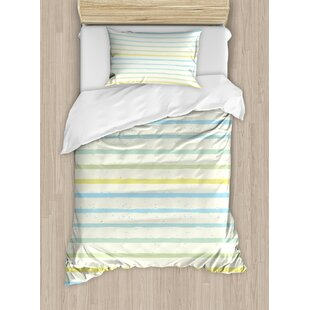 Striped Watercolor Paint Brush Pattern in Pastel Tone with Grunge Effects Nouveau Art Duvet Set by Ambesonne