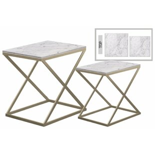 Everly Quinn Delphine Metal 2 Pieces Nesting Tables with Marble Top