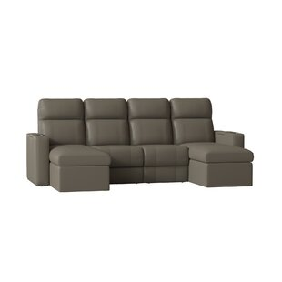 Contemporary Upholstered Leather Home Theater Sofa (Row of 4)