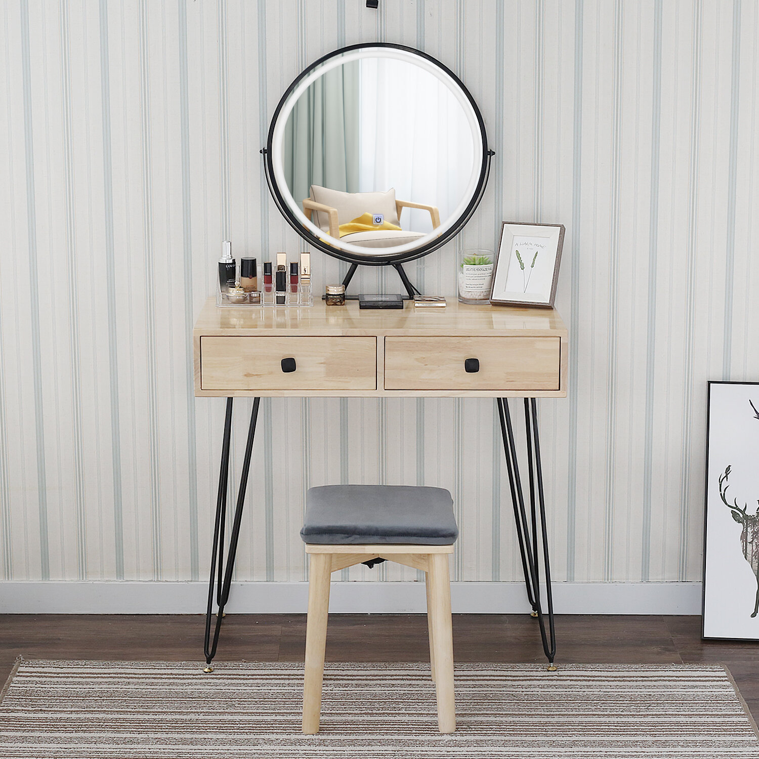 Brayden Studio Shaikh Solid Wood Vanity Set With Stool And Mirror Reviews Wayfair