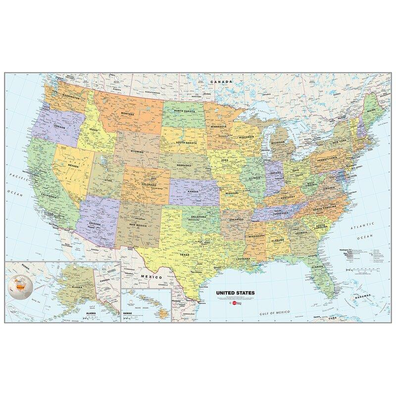 WallPops! USA Dry-Erase Map 36\' x 24\