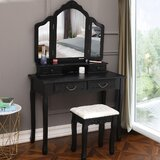 Lovins Vanity Set with Stool and Mirror by Alcott Hill®