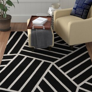 Bargain Kobayashi Black/White Area Rug By Winston Porter