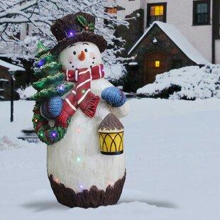 Snowman Holding Christmas Tree Figurine By National Tree Co.