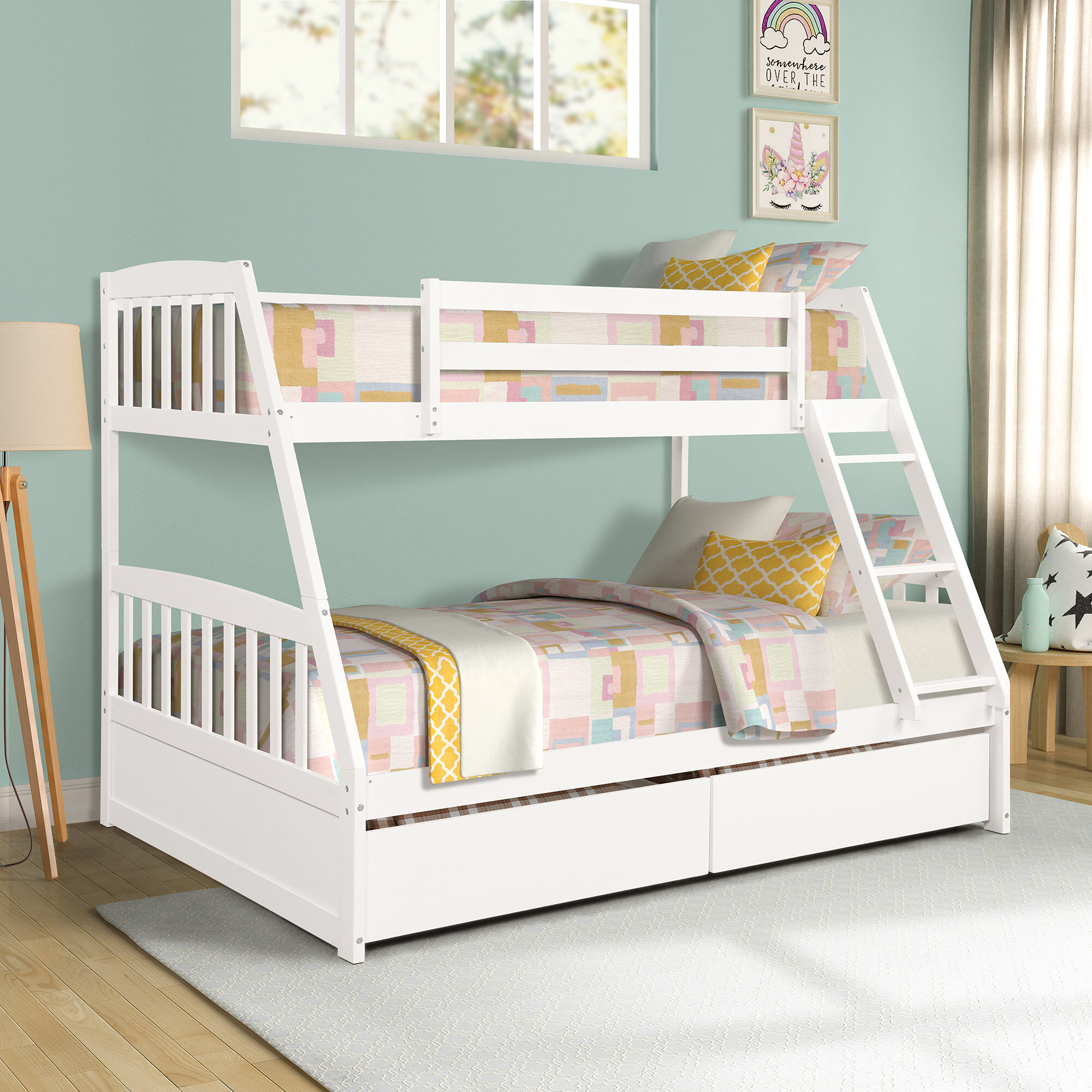 Picture of: Harriet Bee Anchorage Twin Over Full Bunk Bed With Drawers Reviews