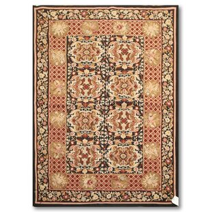 Check Prices One-of-a-Kind Reames Needlepoint Hand-Knotted Wool Black/Pale Pink Area Rug ByAstoria Grand