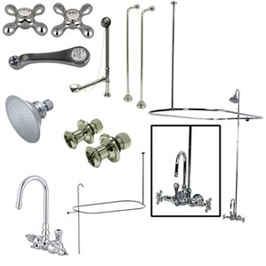 clawfoot tub and shower package. Vintage Triple Handle Wall Mount High Rise Clawfoot Tub and Shower Package  Wayfair