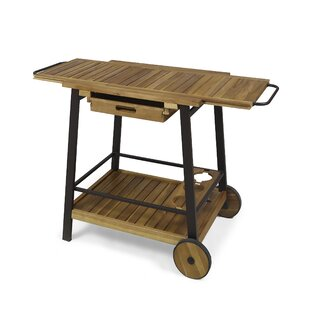 Gunnar Indoor Acacia Wood Bar Cart by Loon Peak