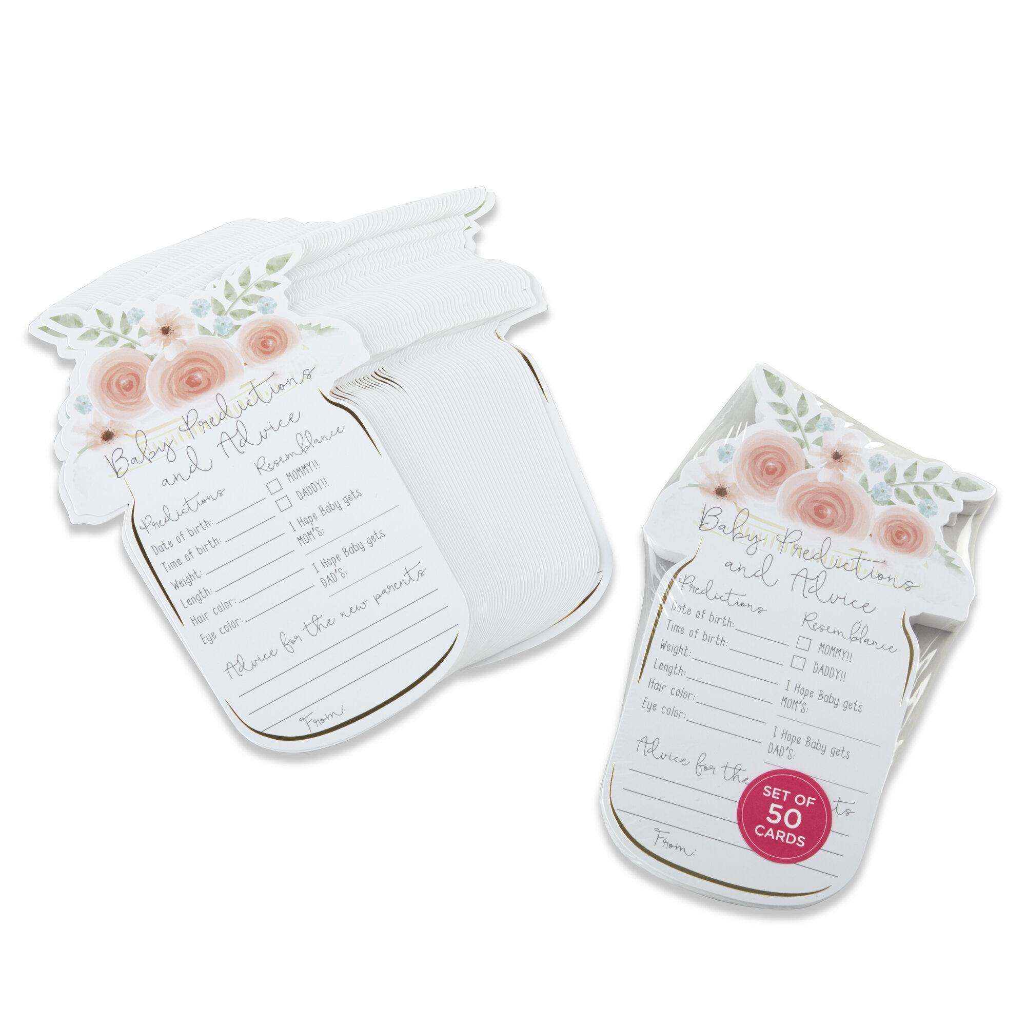 50 piece mason jar floral baby shower advice card