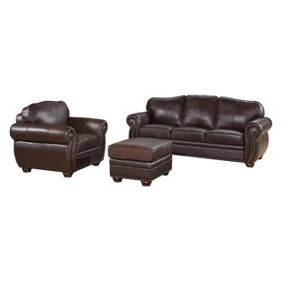 Darby Home Co Morgenstern 3 Piece Leather Living Room Set
