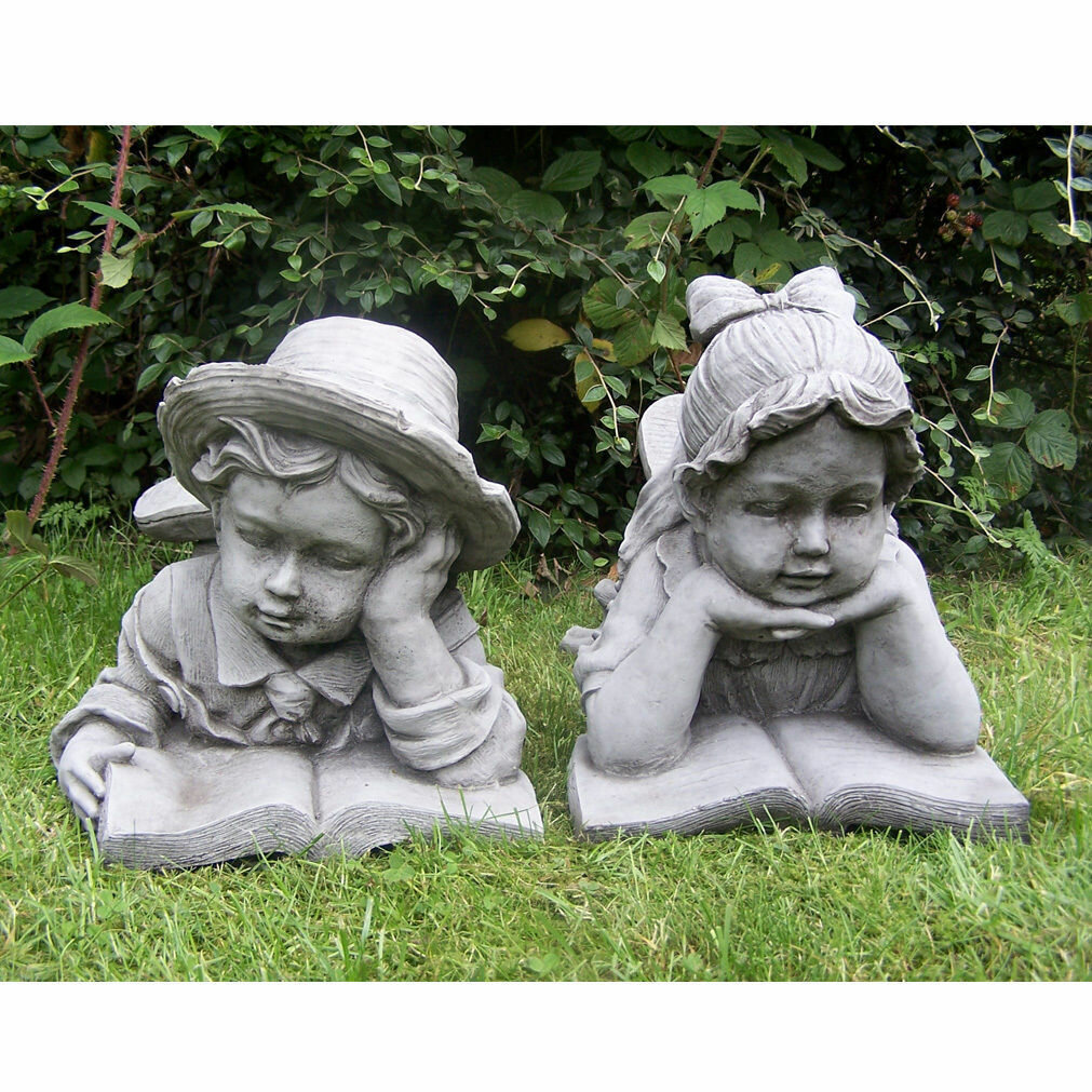 Hardcastle Large Stone Effect Boy and Girl Laying and Reading Garden  Ornaments