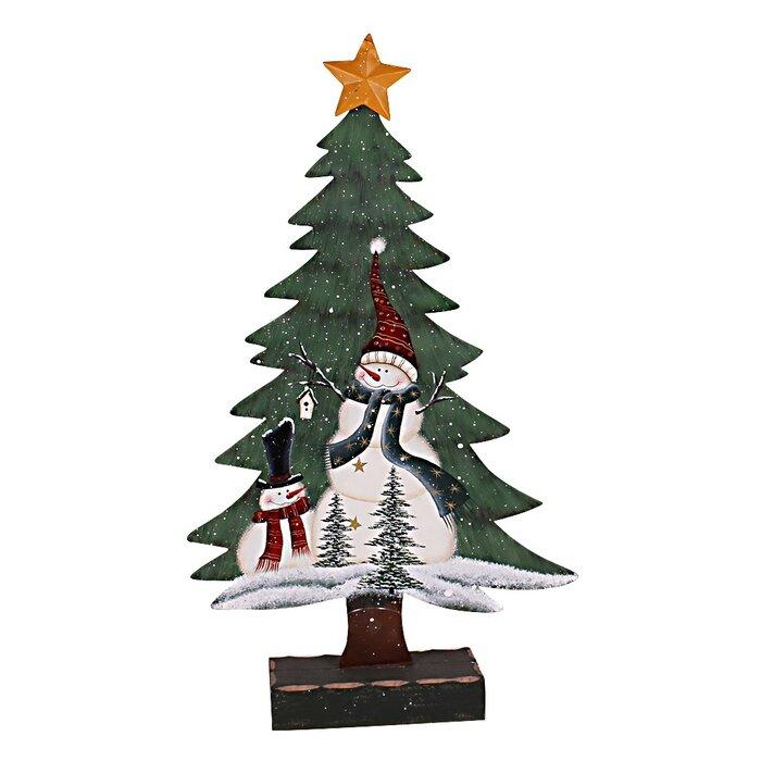Christmas Base.Holiday Snowman On A Christmas Tree With Base