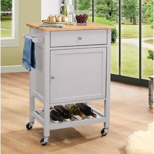 Roder Kitchen Cart with Solid Wood Top Charlton Home