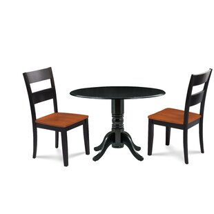 Horan 3 Piece Drop Leaf Solid Wood Dining Set August Grove