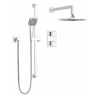 Keeney Manufacturing Company Stylish Square Faucet Pressure Balanced Dual Function Dual Shower Head Complete Shower System