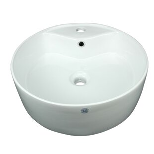 Vitreous China Circular Vessel Bathroom Sink with Overflow by The Renovators Supply Inc.